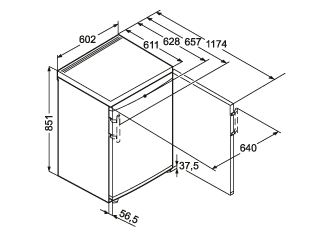Maattekening LIEBHERR vrieskast tafelmodel GNP1076-20