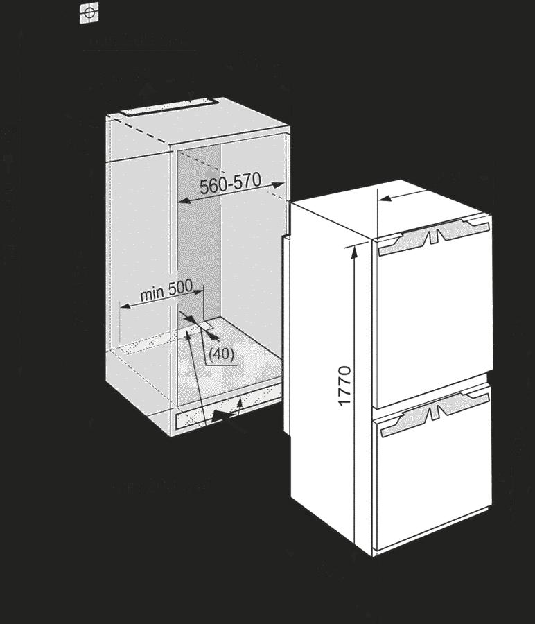 Maattekening LIEBHERR koelkast inbouw ICBN3376-22