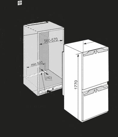 Maattekening LIEBHERR koelkast inbouw ICBN3386-22