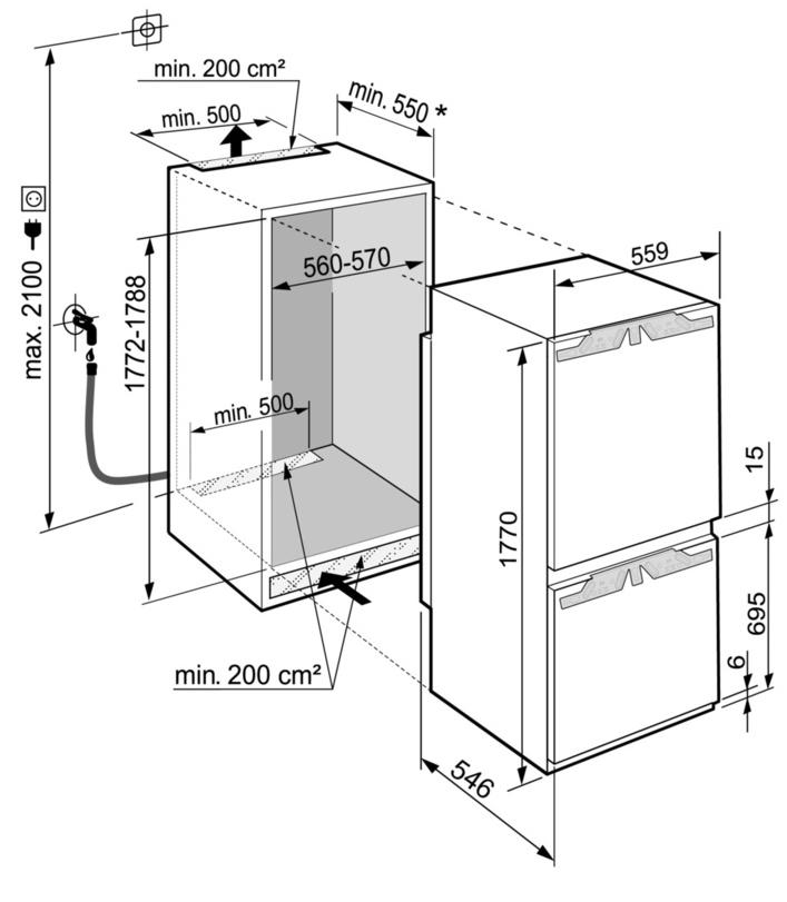 Maattekening LIEBHERR koelkast inbouw ICBNd5163-20