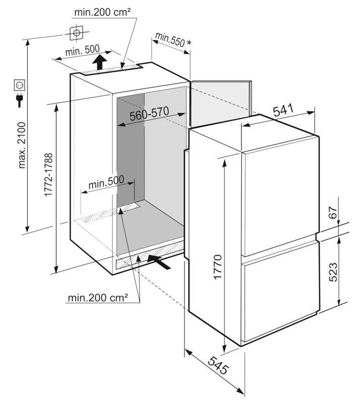 Maattekening LIEBHERR koelkast inbouw ICBSd5122-20