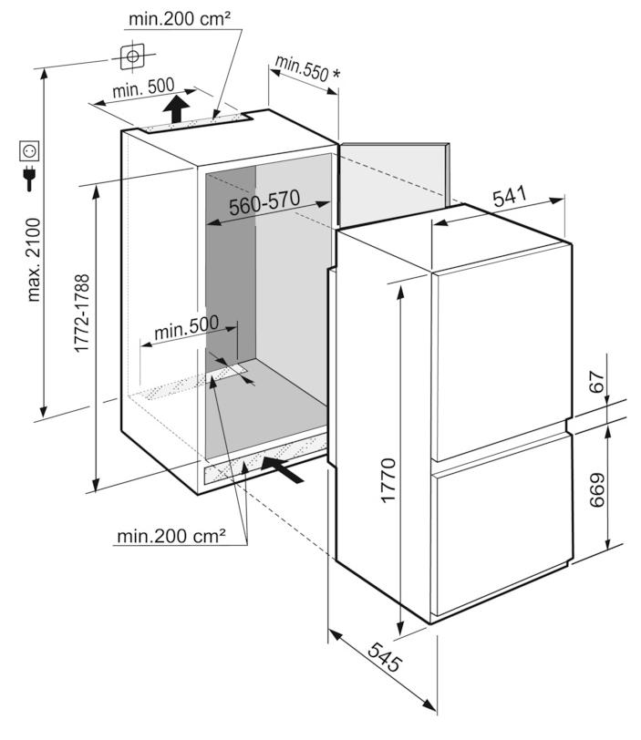 Maattekening LIEBHERR koelkast inbouw ICNSf5103-20