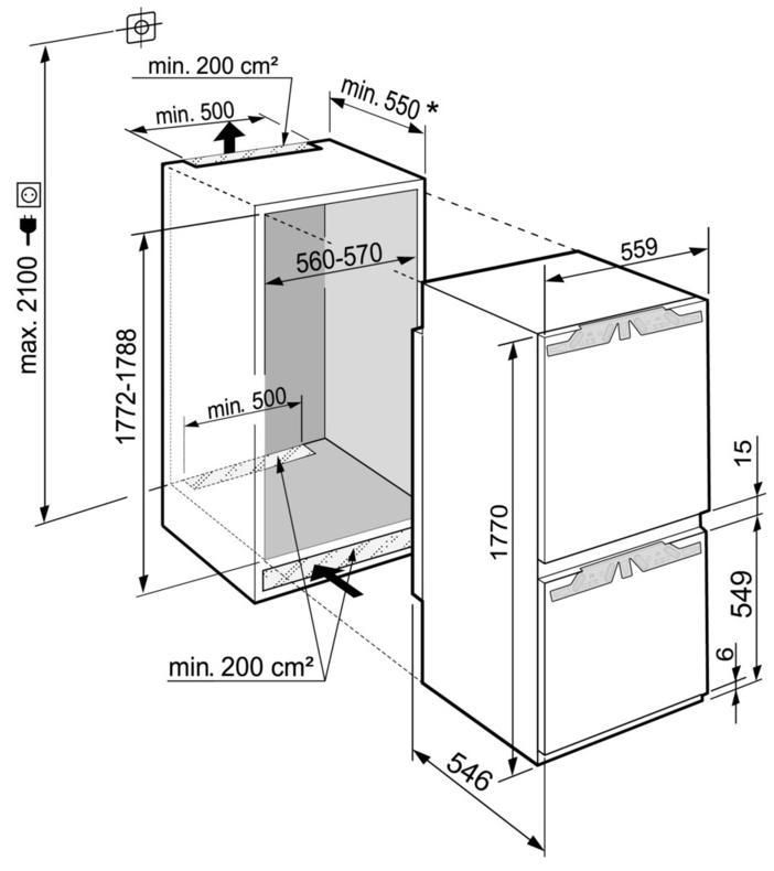 Maattekening LIEBHERR koelkast inbouw ICNd5153-20