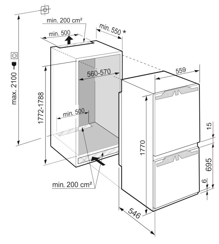 Maattekening LIEBHERR koelkast inbouw ICNe5133-20