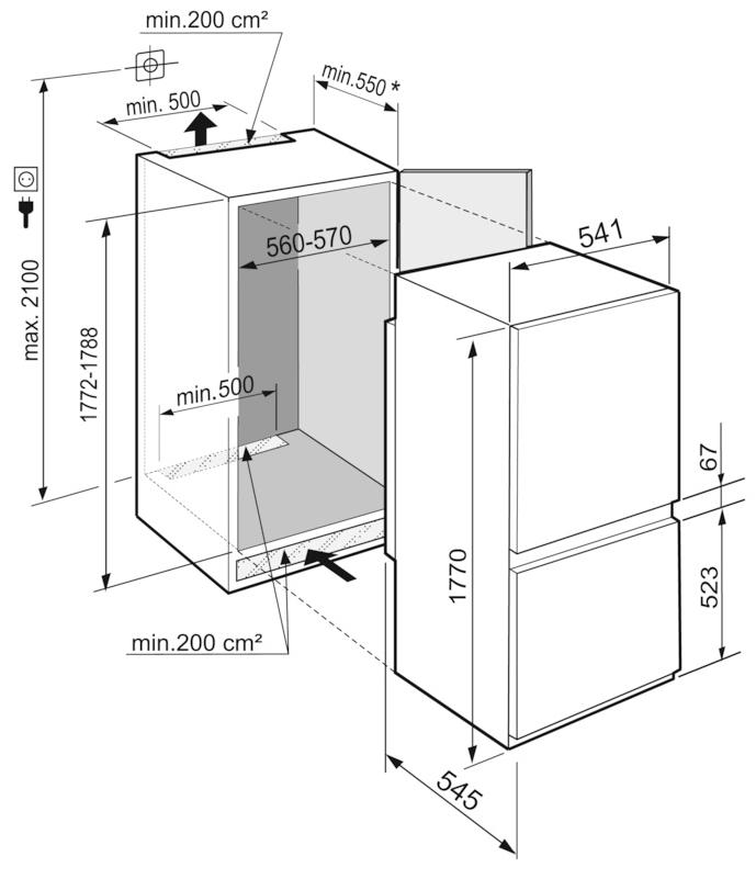 Maattekening LIEBHERR koelkast inbouw ICSe5122-20