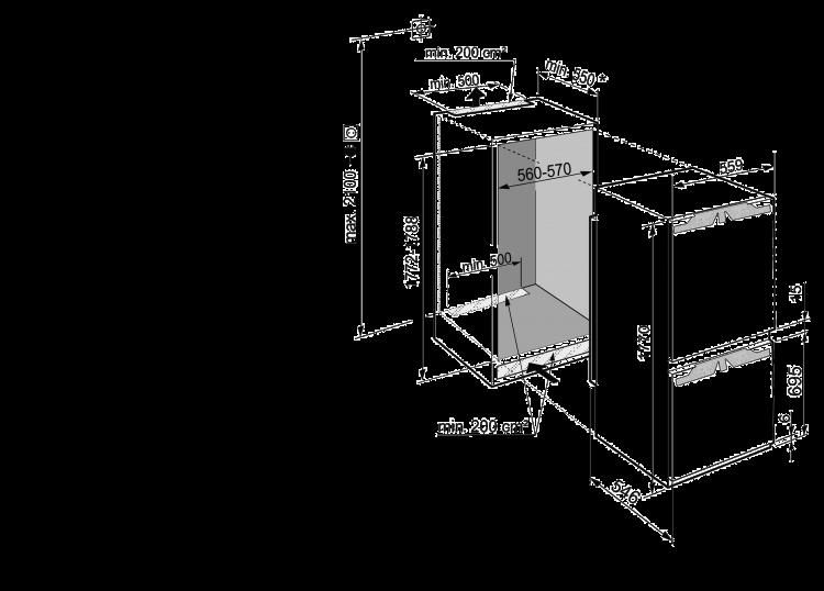 Maattekening LIEBHERR koelkast inbouw ICD5123-20