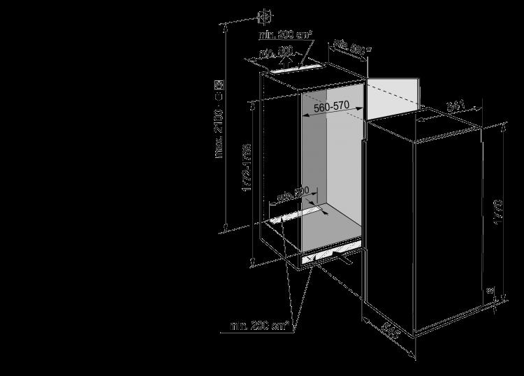 Maattekening LIEBHERR koelkast inbouw IRBSe5121-20