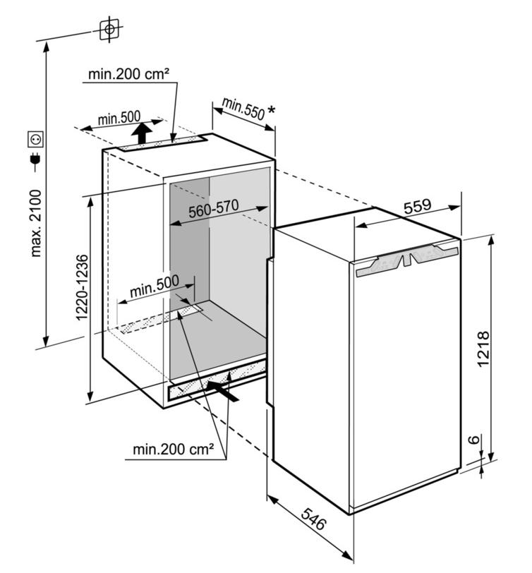 Maattekening LIEBHERR koelkast inbouw IRBb4170-20