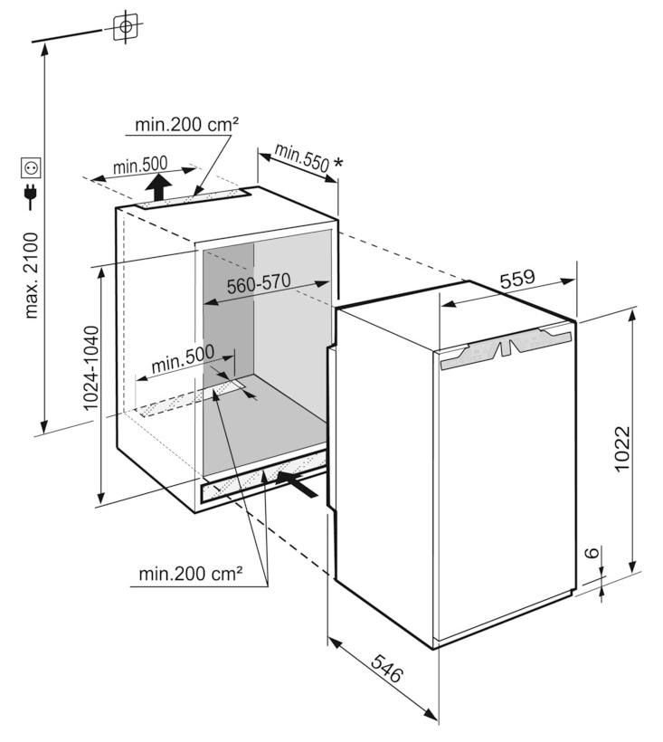 Maattekening LIEBHERR koelkast inbouw IRBd4050-20