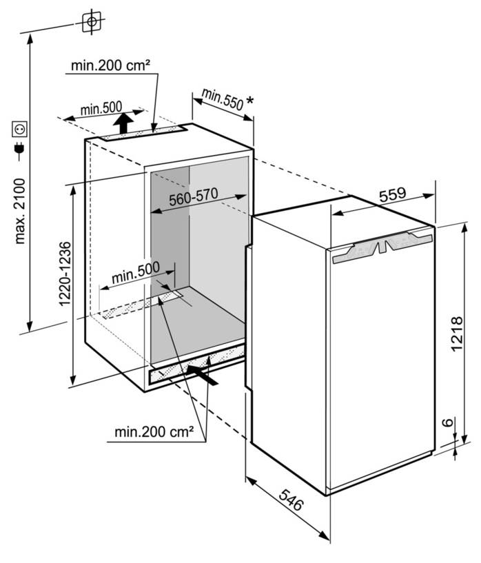 Maattekening LIEBHERR koelkast inbouw IRBd4150-20