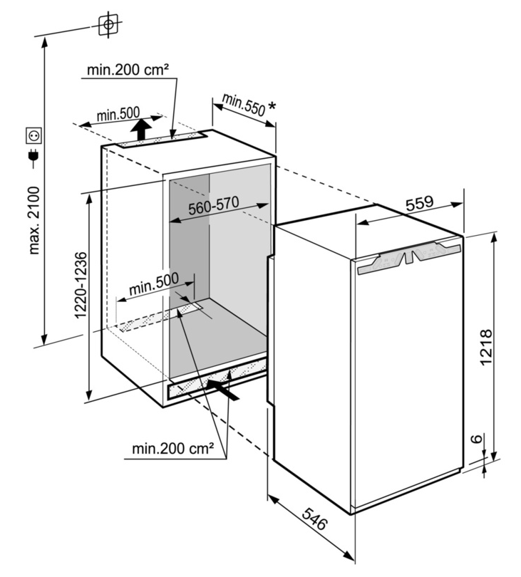 Maattekening LIEBHERR koelkast inbouw IRBd4151-20
