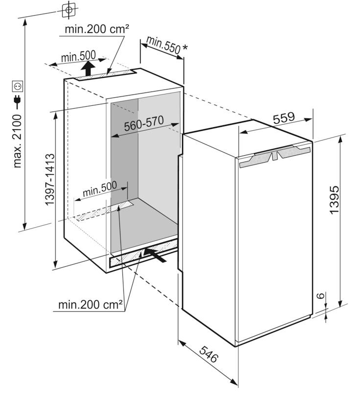 Maattekening LIEBHERR koelkast inbouw IRBd4550-20