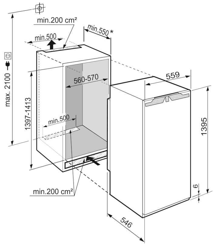 Maattekening LIEBHERR koelkast inbouw IRBd4570-20