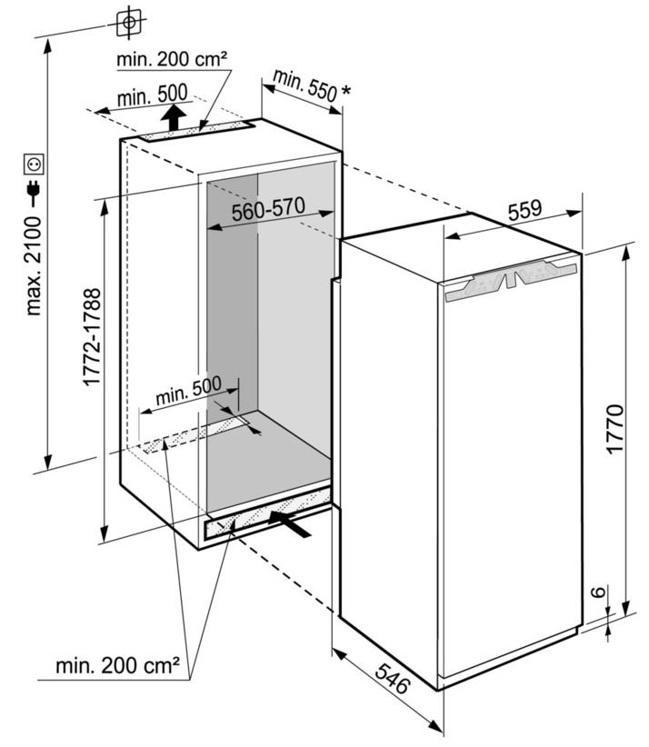 Maattekening LIEBHERR koelkast inbouw IRBd5150-20