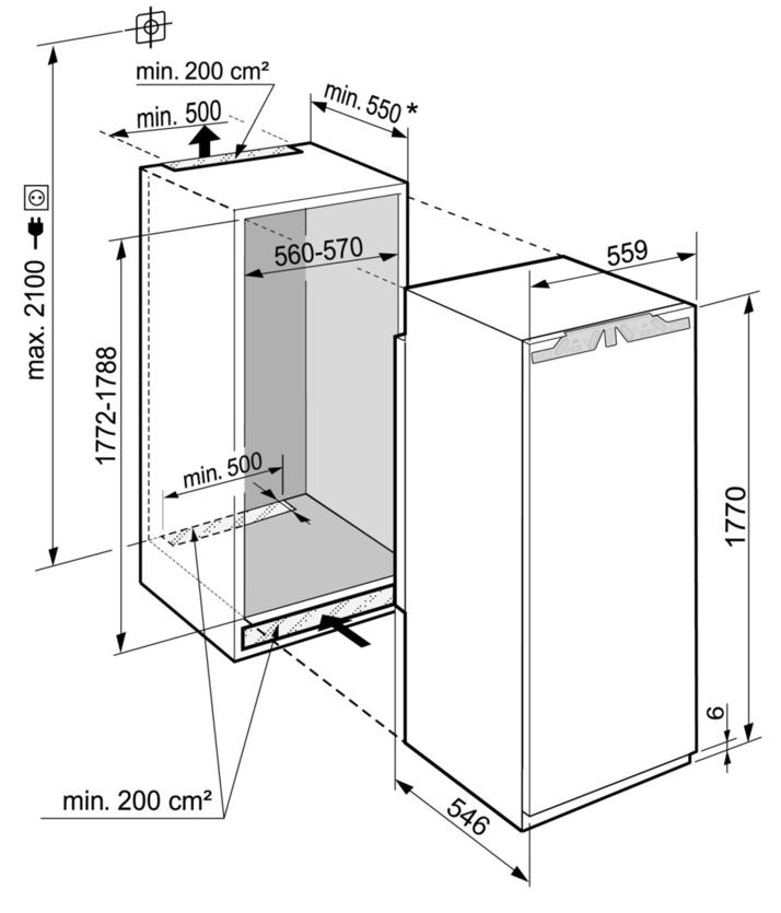 Maattekening LIEBHERR koelkast inbouw IRBe5120-20