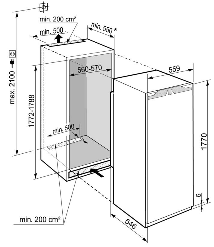 Maattekening LIEBHERR koelkast inbouw IRBe5121-20