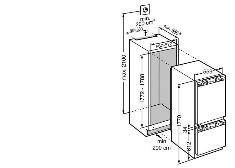 Maattekening LIEBHERR koelkast inbouw IRCf5121-20