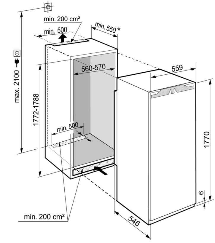 Maattekening LIEBHERR koelkast inbouw IRDe5120-20