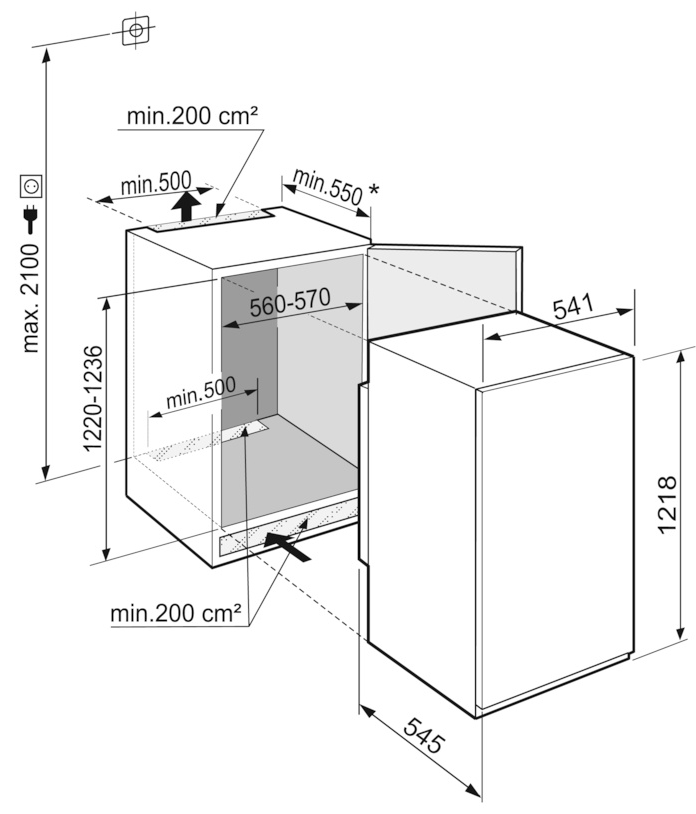 Maattekening LIEBHERR koelkast inbouw IRSe4100-20