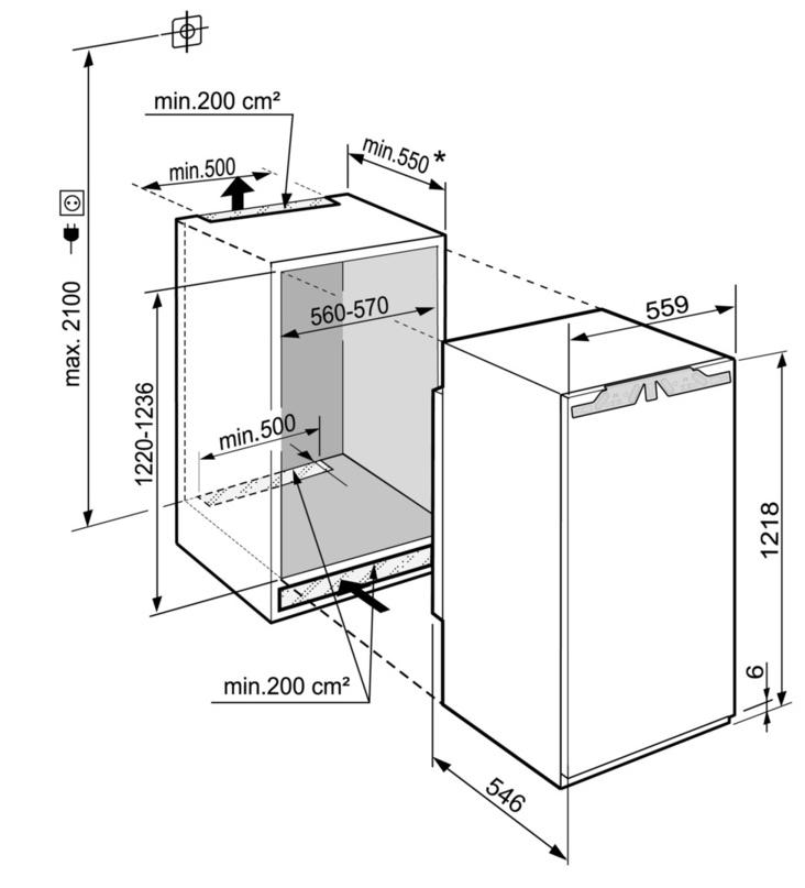Maattekening LIEBHERR koelkast inbouw IRd4120-60