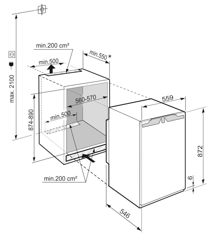Maattekening LIEBHERR koelkast inbouw IRe3921-20