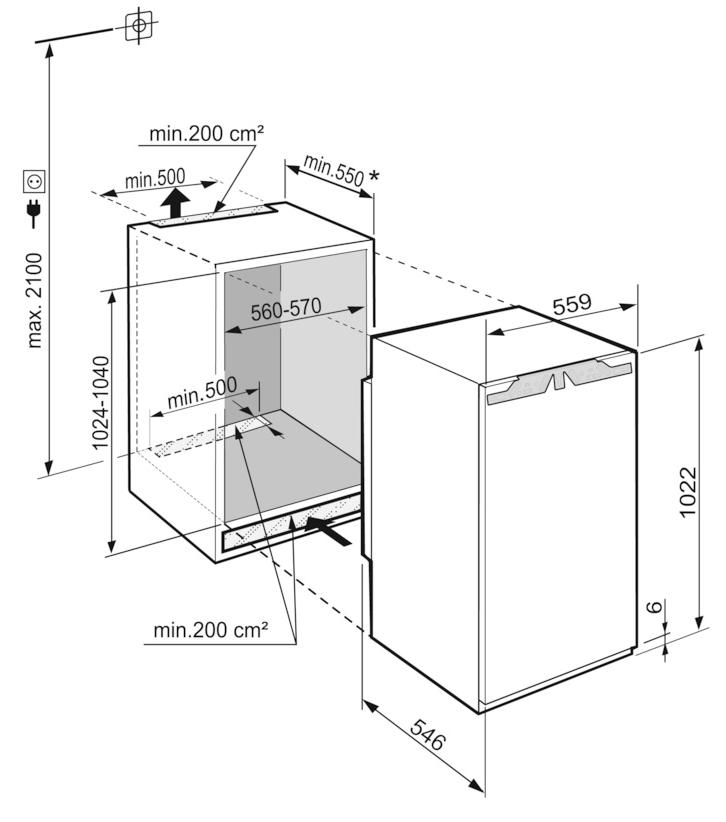 Maattekening LIEBHERR koelkast inbouw IRe4021-20