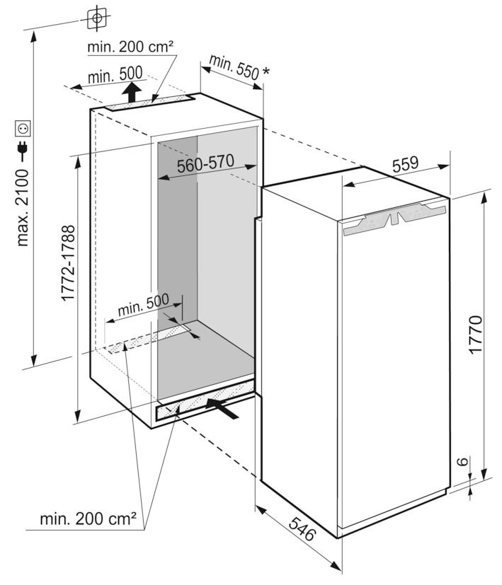 Maattekening LIEBHERR koelkast inbouw IRe5100-20