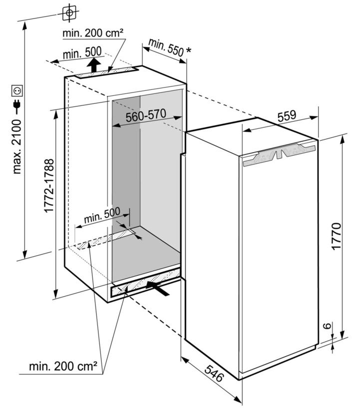 Maattekening LIEBHERR koelkast inbouw IRf5101-20
