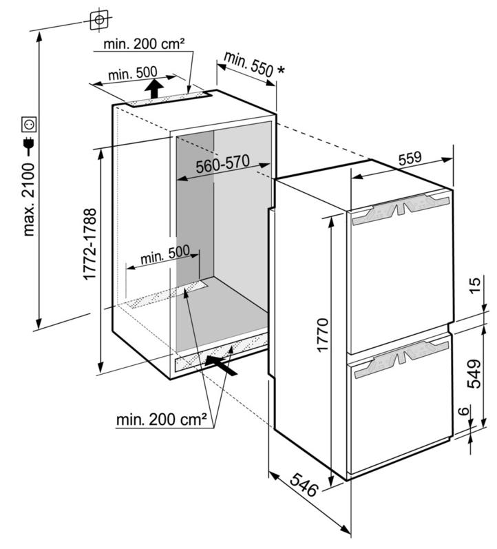 Maattekening LIEBHERR koelkast inbouw SICNd5153-20
