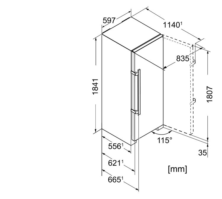 Maattekening LIEBHERR koelkast wit SK4260-22