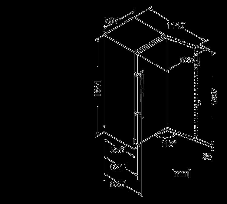 Maattekening LIEBHERR koelkast rvs SKef4260-22