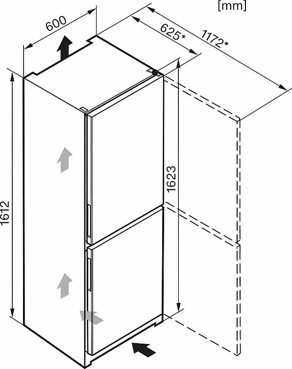 Maattekening MIELE koelkast rvs-look KD 26022 EDO