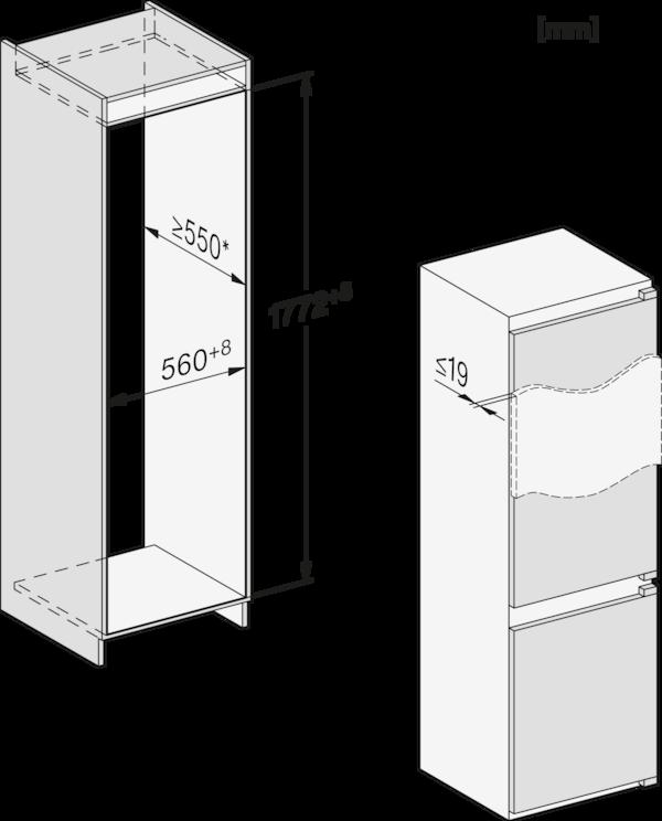 Maattekening MIELE koelkast inbouw KFN 7714 F