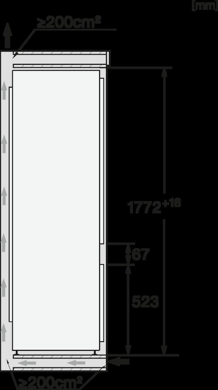 Maattekening MIELE koelkast inbouw KF 7731 E