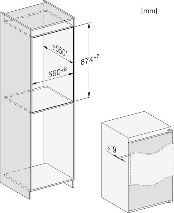 Maattekening MIELE koelkast inbouw K 7103 D