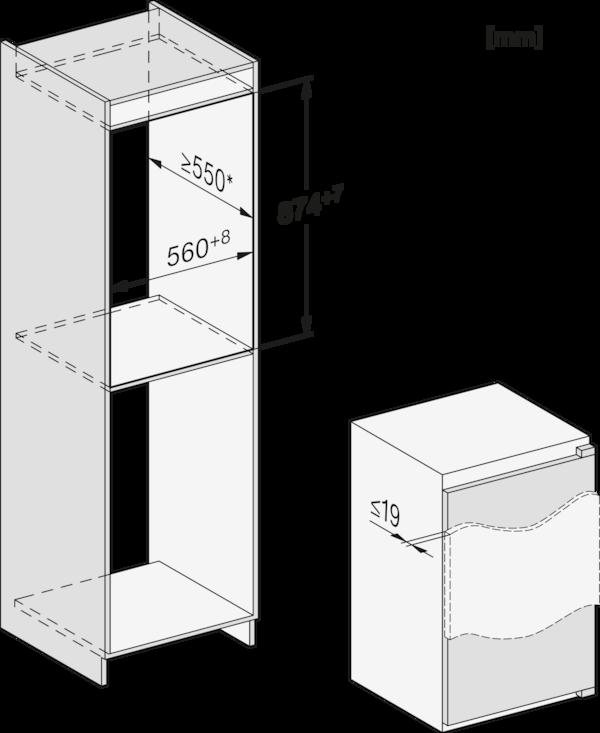Maattekening MIELE koelkast inbouw K 7103 F