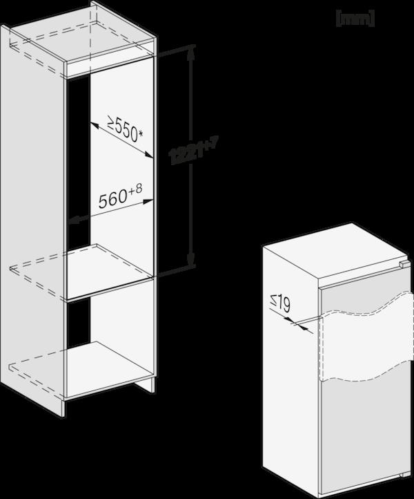 Maattekening MIELE koelkast inbouw K 7303 D