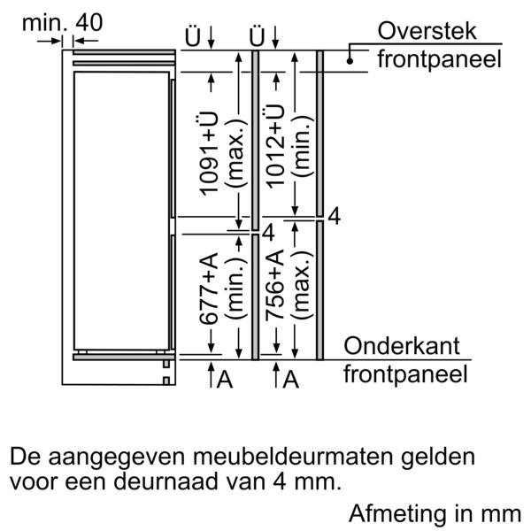 Afmetingen SIEMENS koelkast inbouw KI86VVSE0