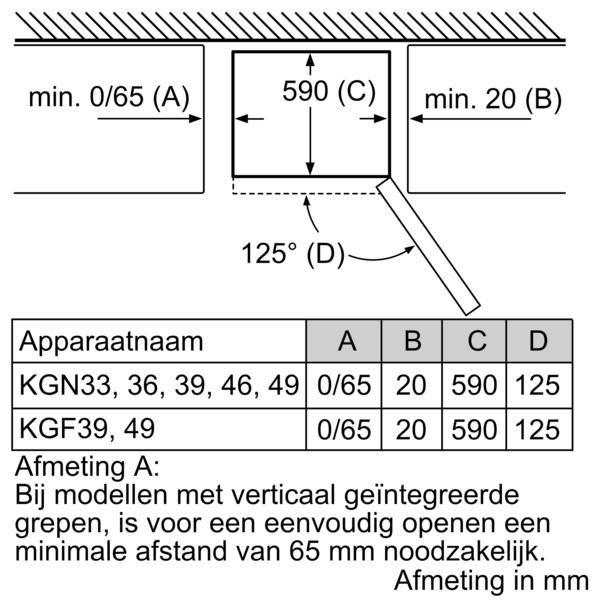 Afmetingen SIEMENS koelkast wit KG36NVWER