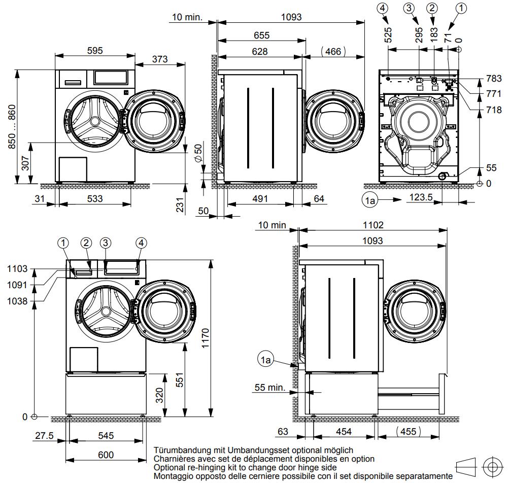 Maattekening SCHULTHESS wasmachine professioneel SPIRIT 540 TITAN ROCK