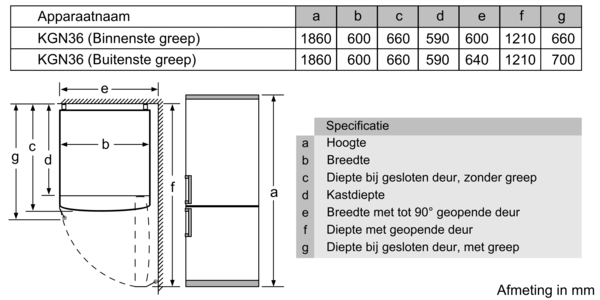 Maattekening SIEMENS koelkast wit KG36NVWER
