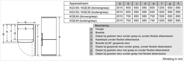 Maattekening SIEMENS koelkast blacksteel KG39E8XBA
