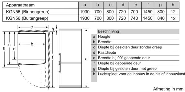 Maattekening SIEMENS koelkast blacksteel KG56FPXCA