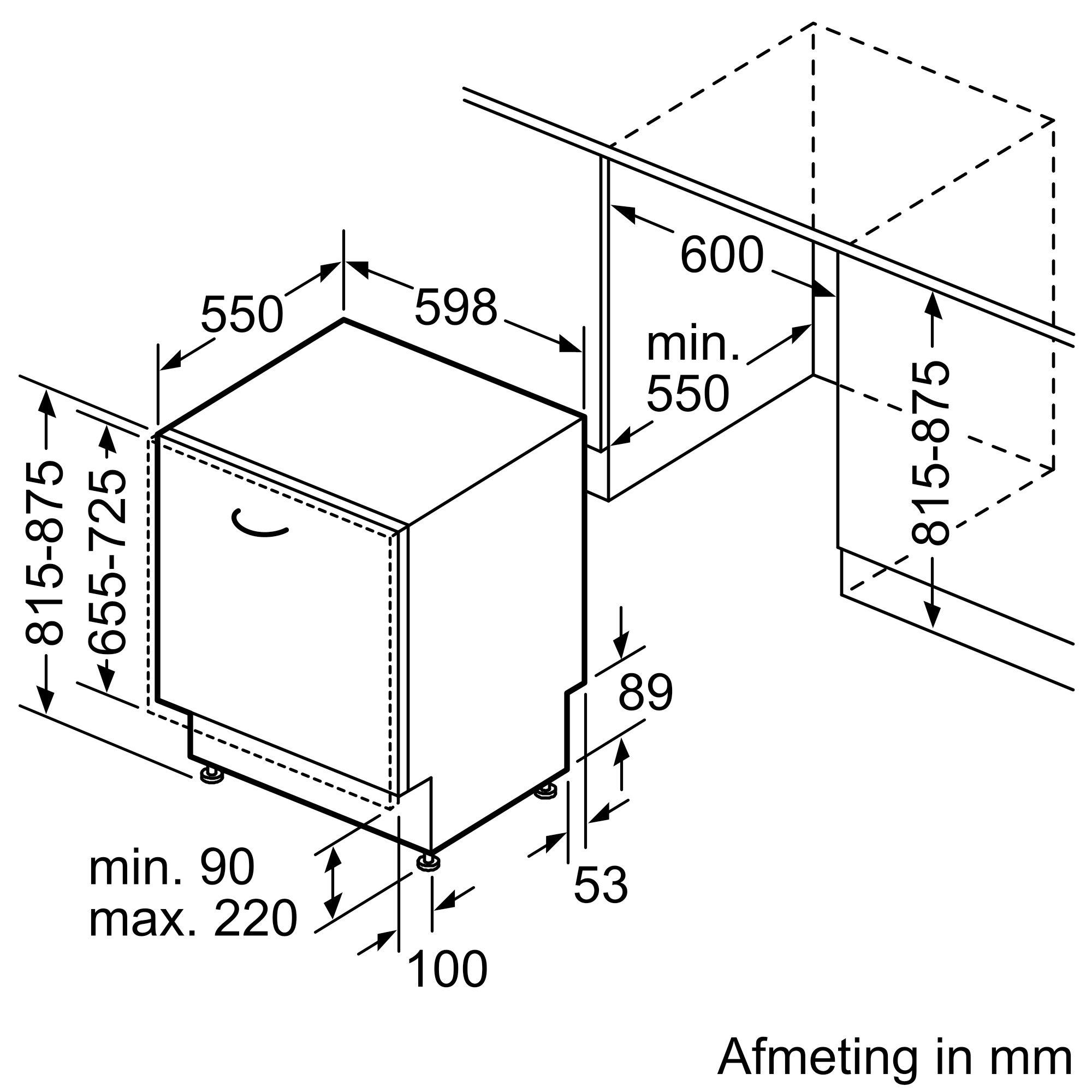 Maattekening SIEMENS vaatwasser inbouw SN63HX60CE