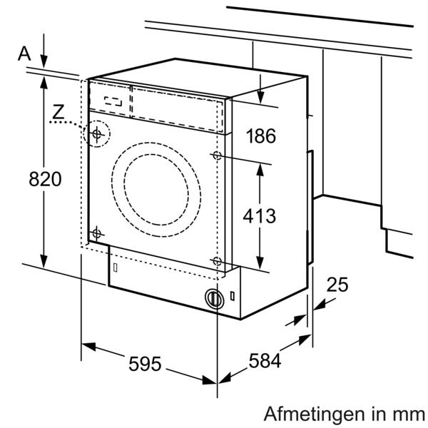 Maattekening SIEMENS was/droogcombinatie inbouw WK14D542EU