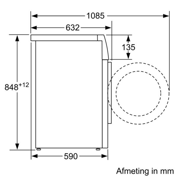 Maattekening SIEMENS wasmachine WM14VEH9NL