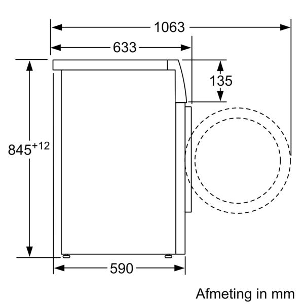 Maattekening SIEMENS droger warmtepomp WT48RT91NL