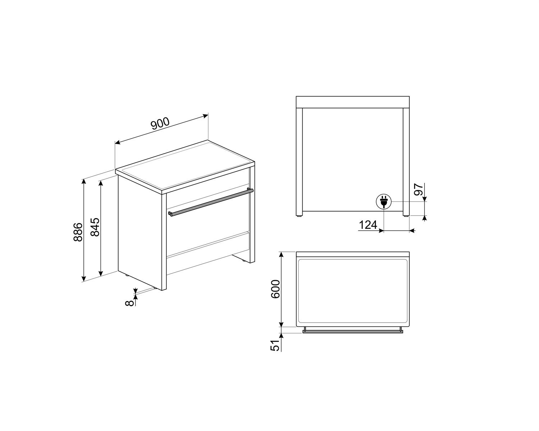 Maattekening SMEG fornuis inductie antraciet B95IMAN9