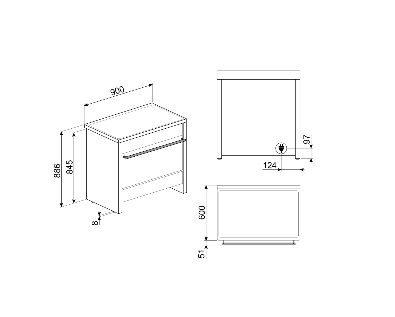 Maattekening SMEG fornuis inductie rvs B95IMX9