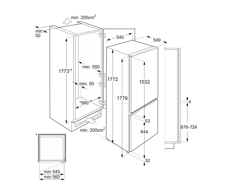 Maattekening SMEG koelkast inbouw C4172F